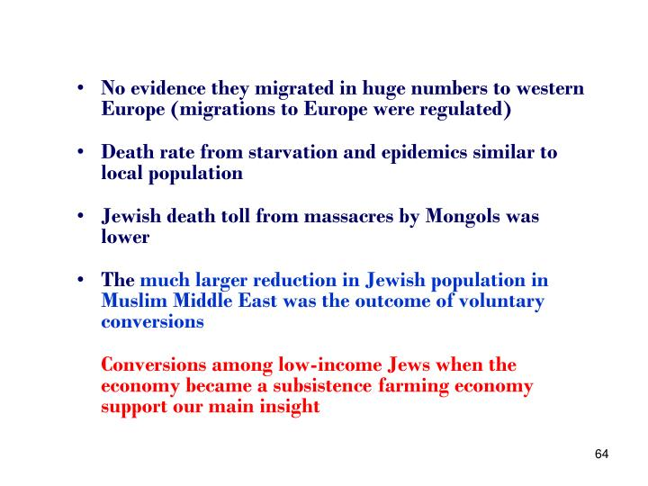 No evidence they migrated in huge numbers to western Europe (migrations to Europe were regulated)