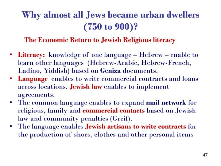 Why almost all Jews became urban dwellers (750 to 900)?