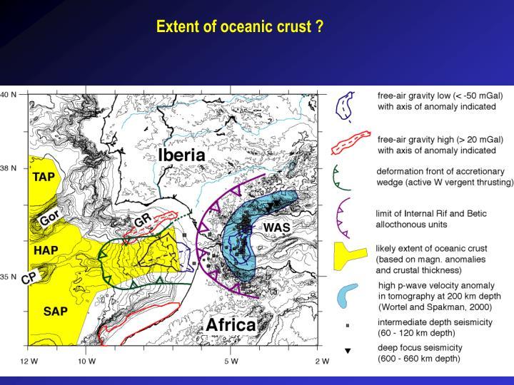 Extent of oceanic crust ?