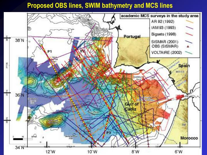Proposed OBS lines, SWIM bathymetry and MCS lines