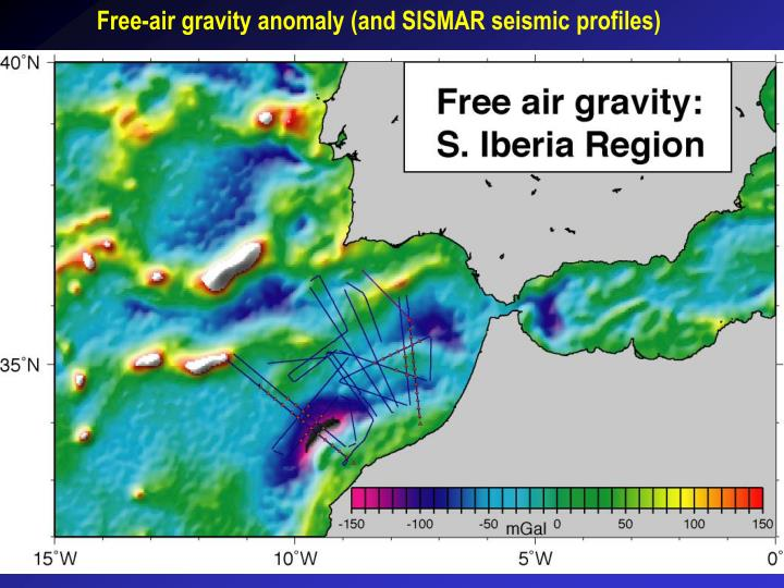 Free-air gravity anomaly (and SISMAR seismic profiles)