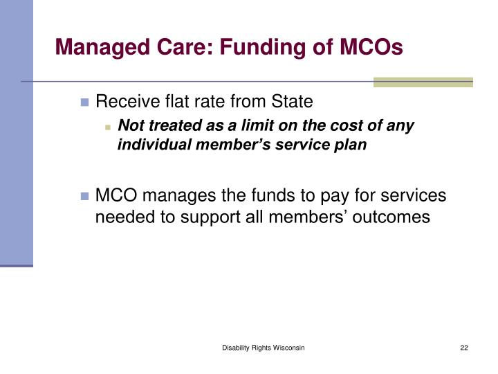 Managed Care: Funding of MCOs