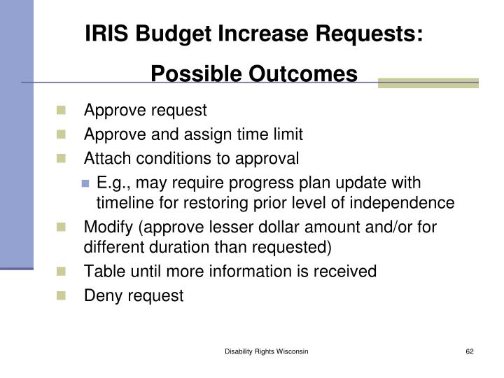 IRIS Budget Increase Requests: