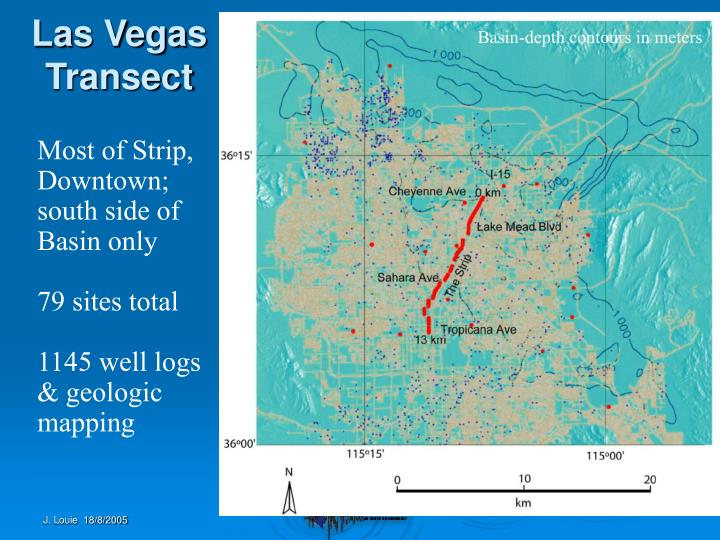 Basin-depth contours in meters