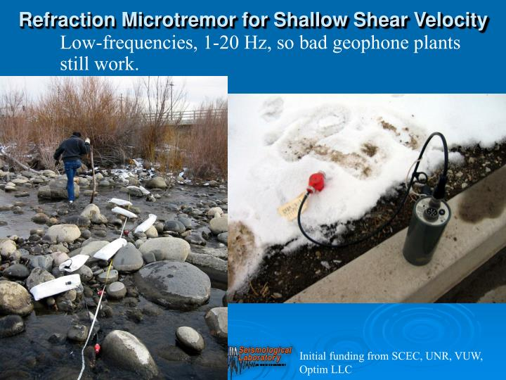 Refraction Microtremor for Shallow Shear Velocity