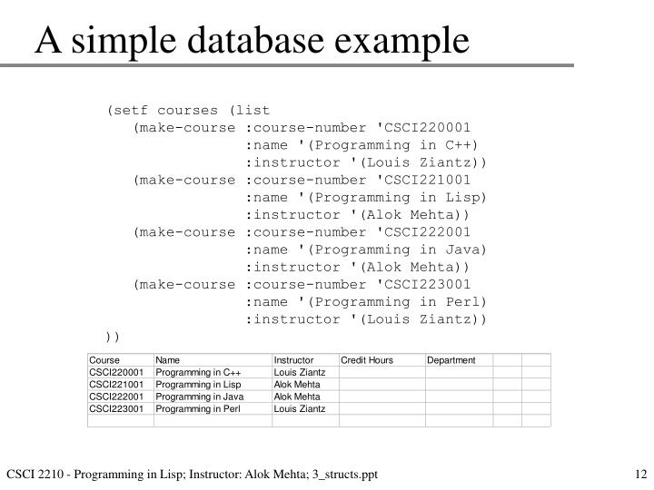 A simple database example