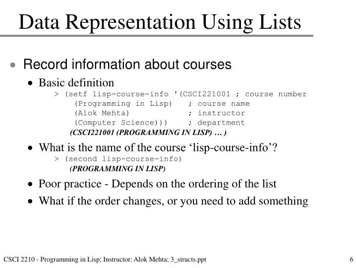 Data Representation Using Lists