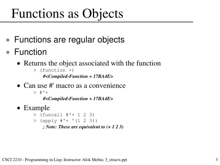 Functions as Objects
