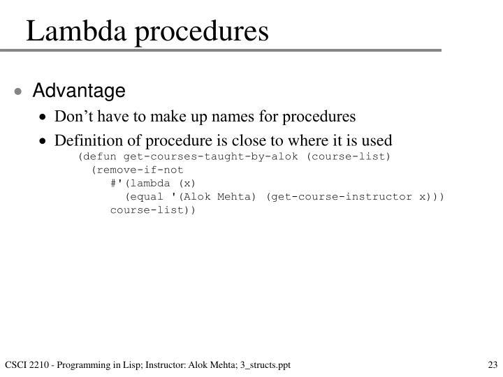 Lambda procedures