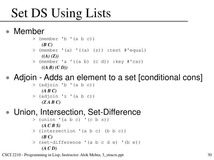 Set DS Using Lists