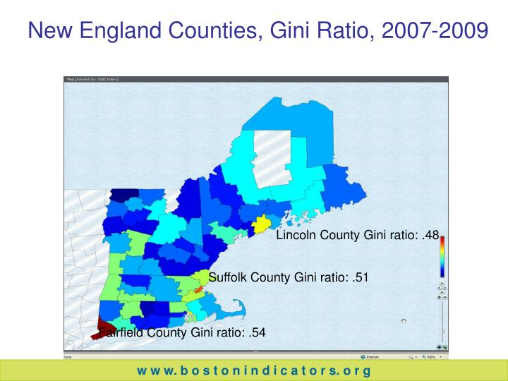New England Counties, Gini Ratio, 2007-2009