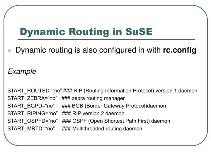 Dynamic Routing in SuSE
