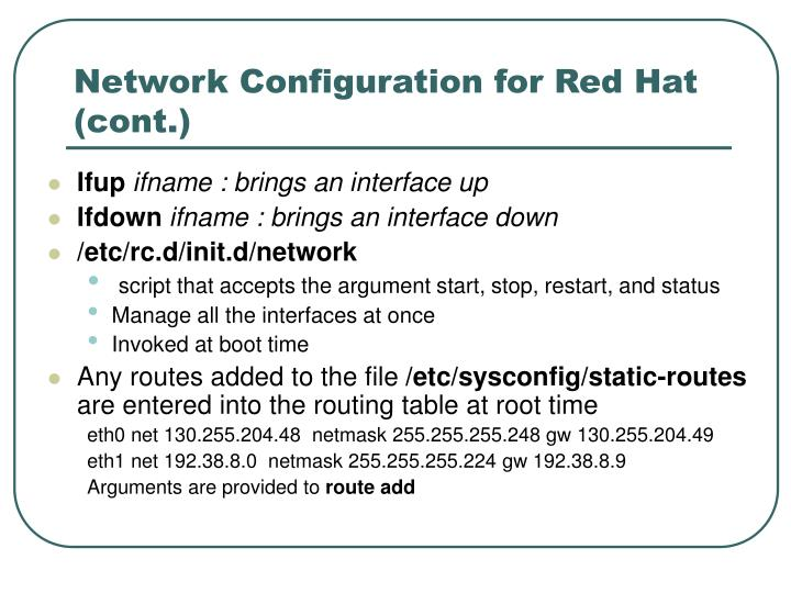 Network Configuration for Red Hat