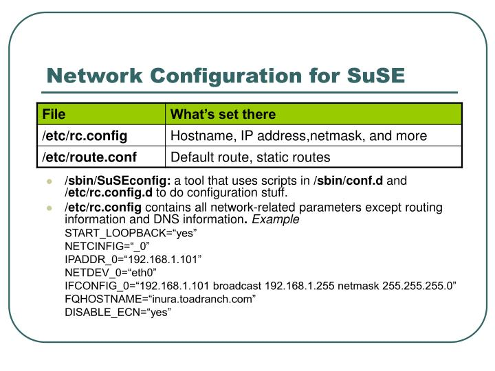 Network Configuration for SuSE