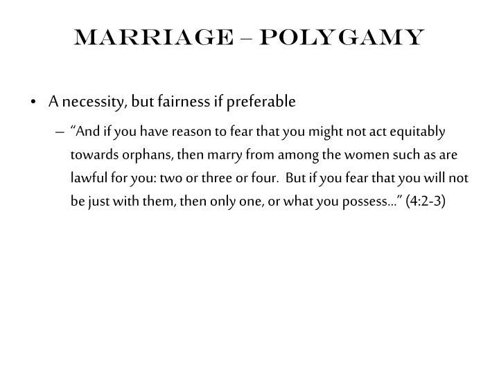 Marriage – Polygamy