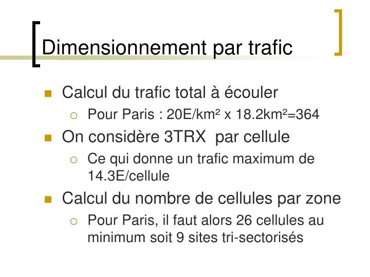 Dimensionnement par trafic
