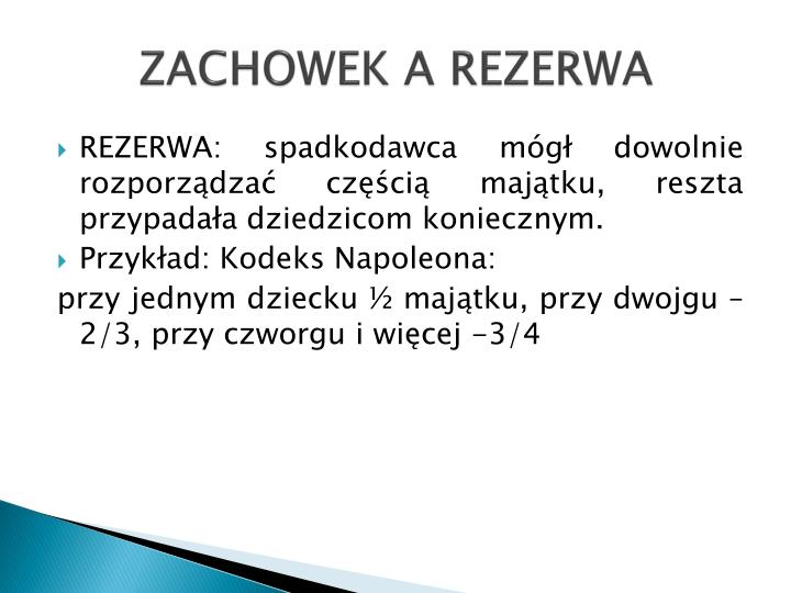 ZACHOWEK A REZERWA