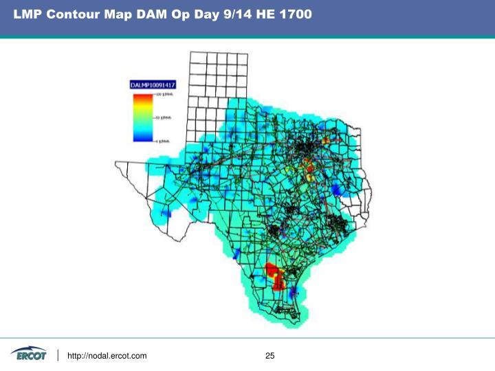 LMP Contour Map DAM Op Day 9/14 HE 1700