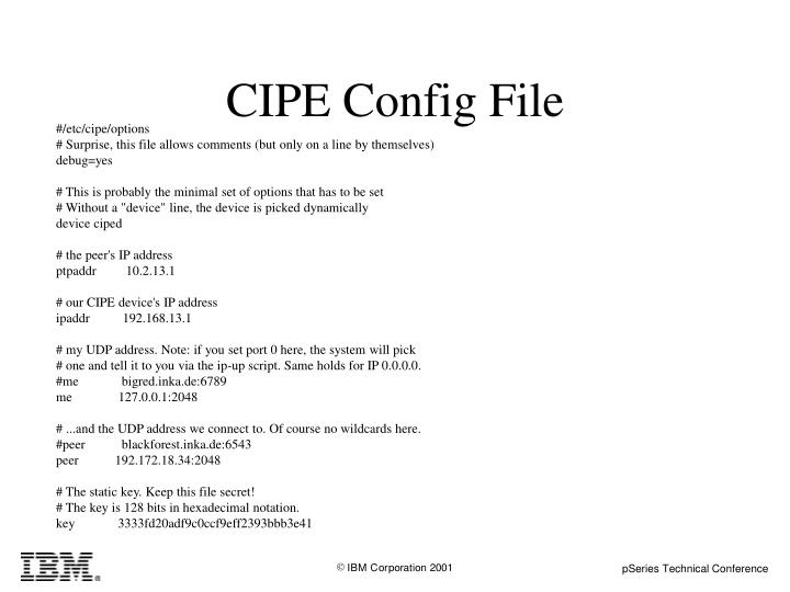 CIPE Config File