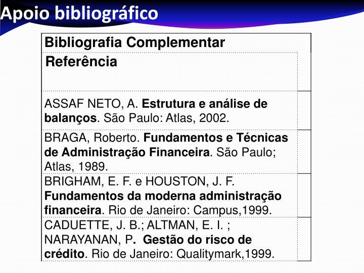 Apoio bibliográfico