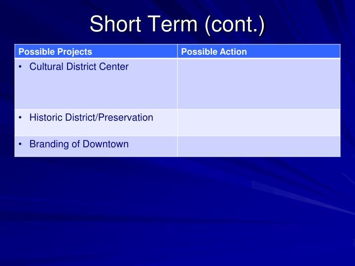 Short Term (cont.)