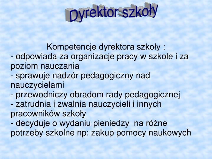 Kompetencje dyrektora szkoły