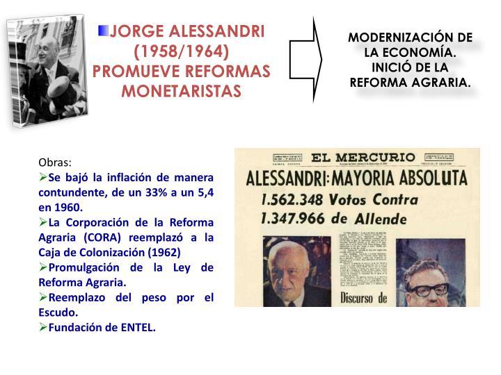 JORGE ALESSANDRI (1958/1964) PROMUEVE REFORMAS MONETARISTAS