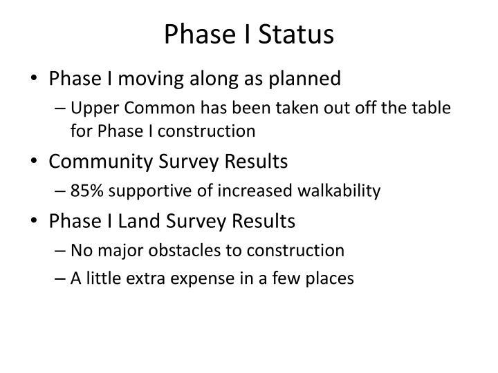 Phase I Status