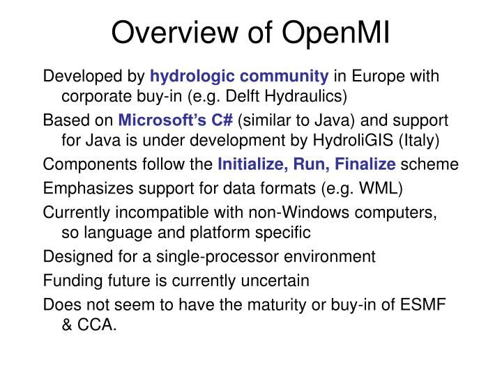 Overview of OpenMI