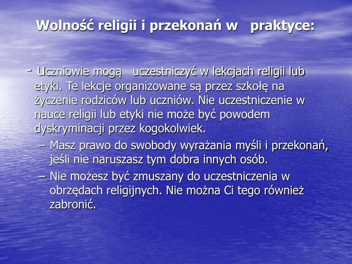 Wolność religii i przekonań w   praktyce: