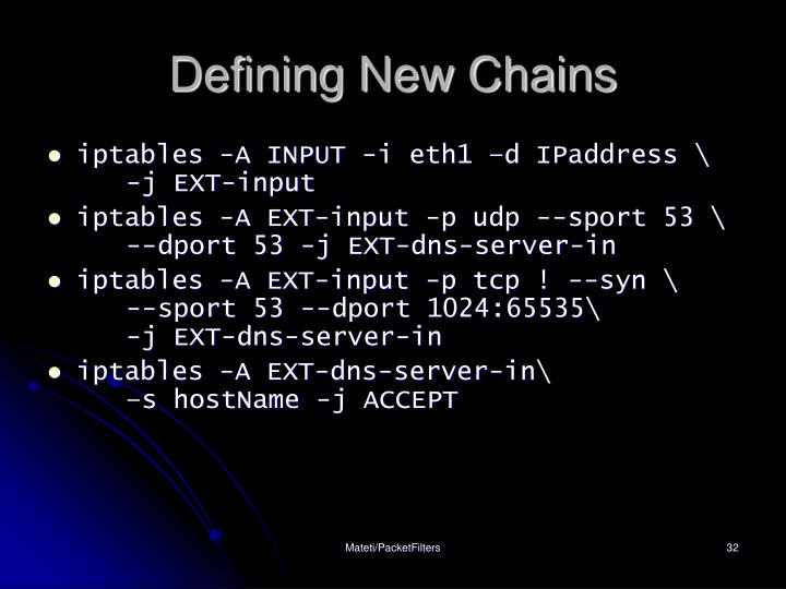 Defining New Chains