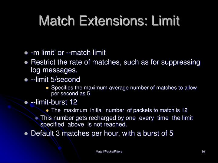 Match Extensions: Limit