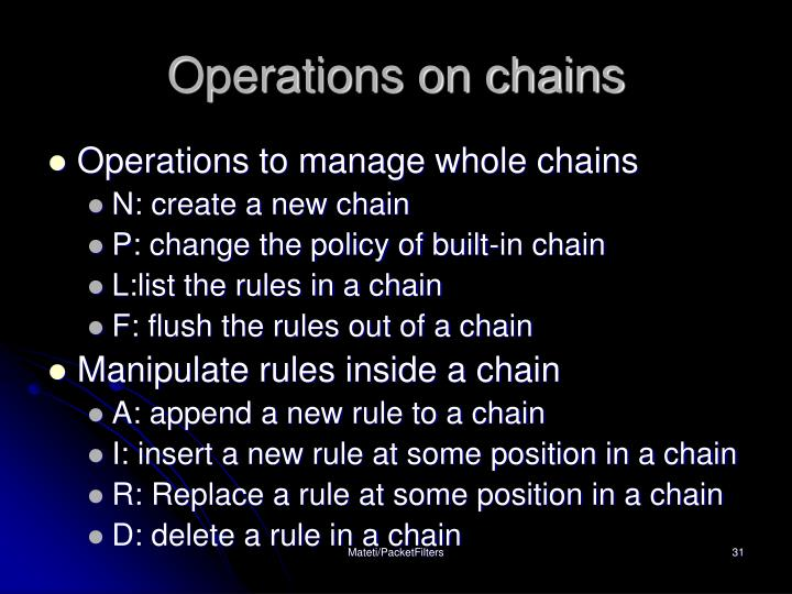 Operations on chains