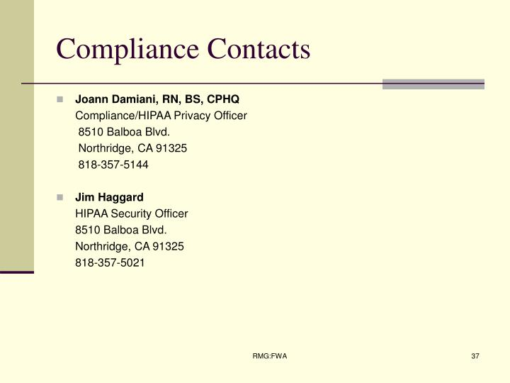 Compliance Contacts