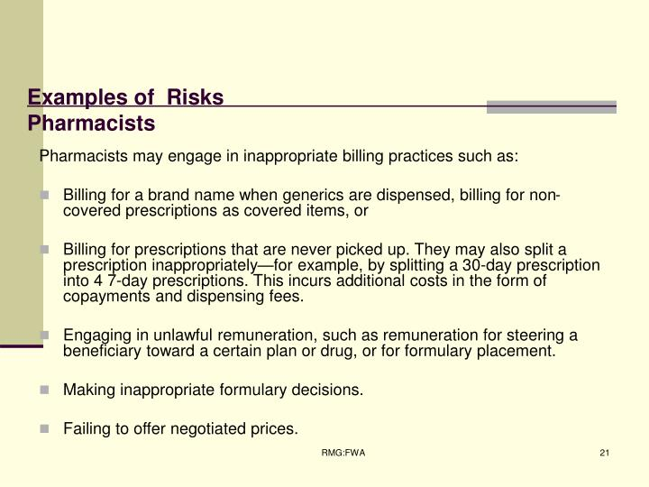 Examples of  Risks