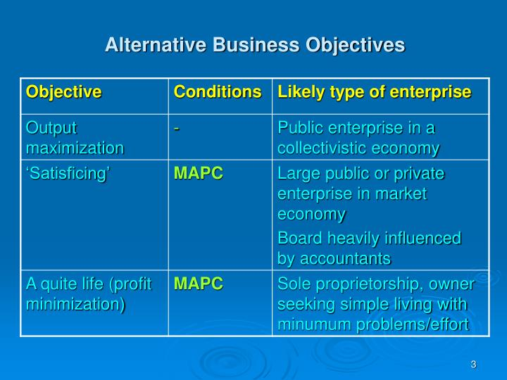 Alternative Business Objectives