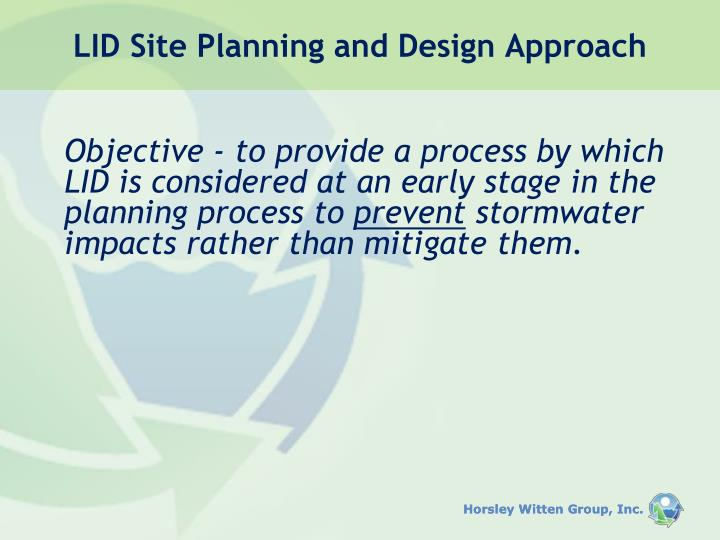 LID Site Planning and Design Approach