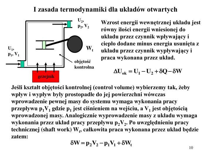 I zasada termodynamiki dla układów otwartych