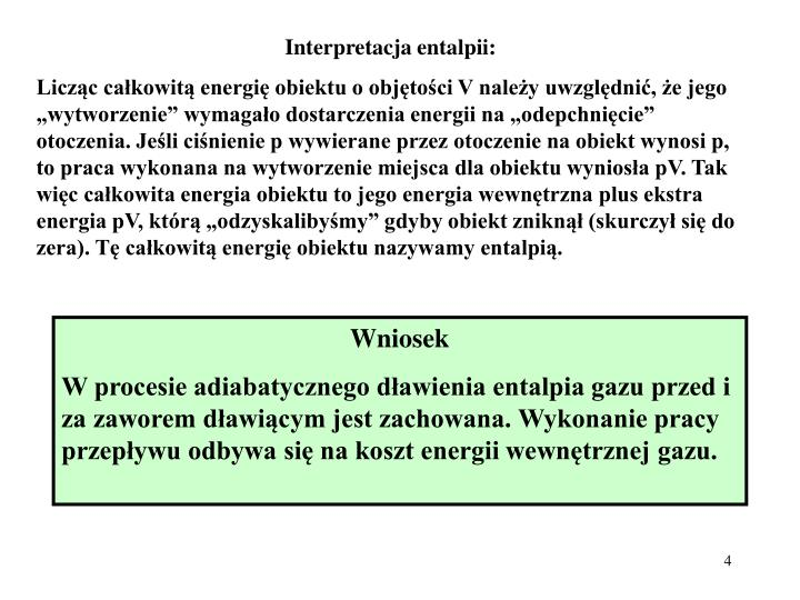 Interpretacja entalpii: