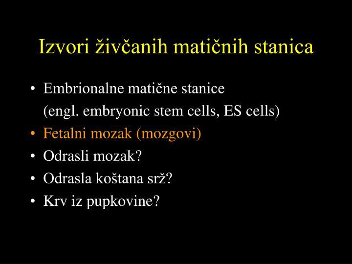 Izvori živčanih matičnih stanica