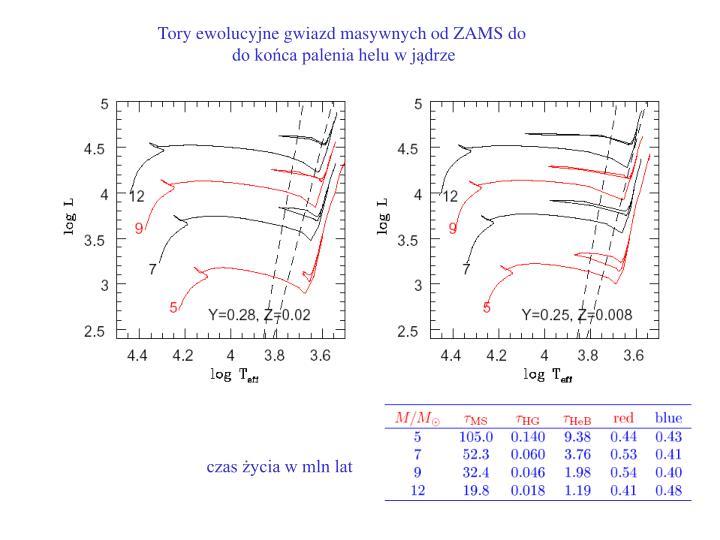 Tory ewolucyjne gwiazd masywnych od ZAMS do