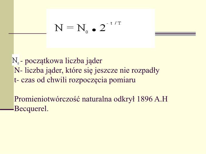 - początkowa liczba jąder