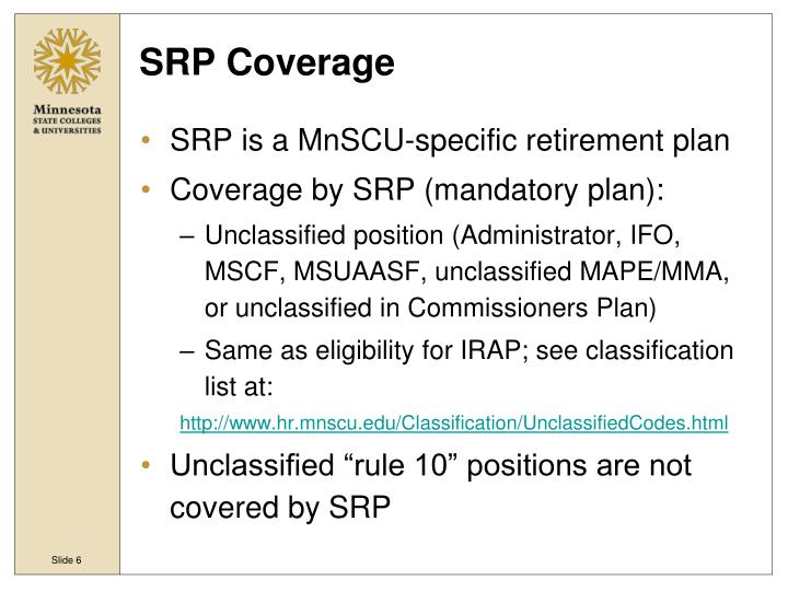 SRP Coverage