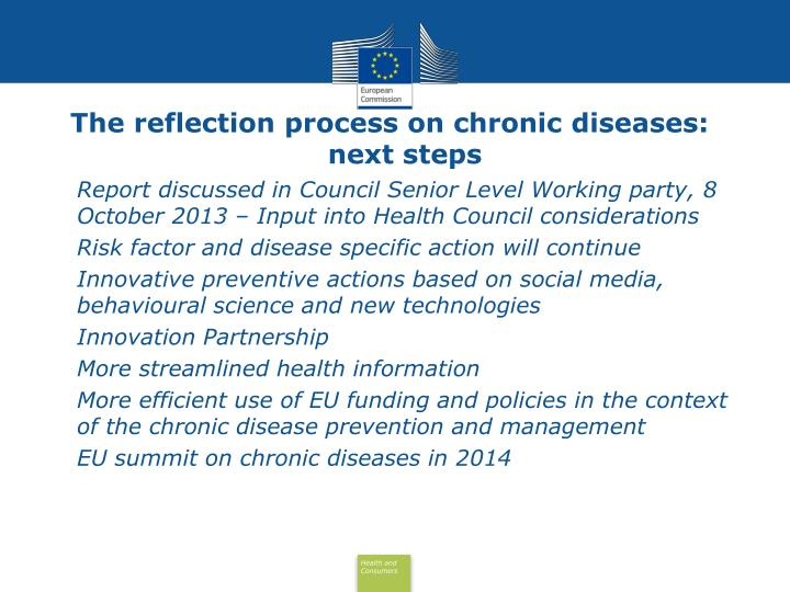 The reflection process on chronic diseases: next steps