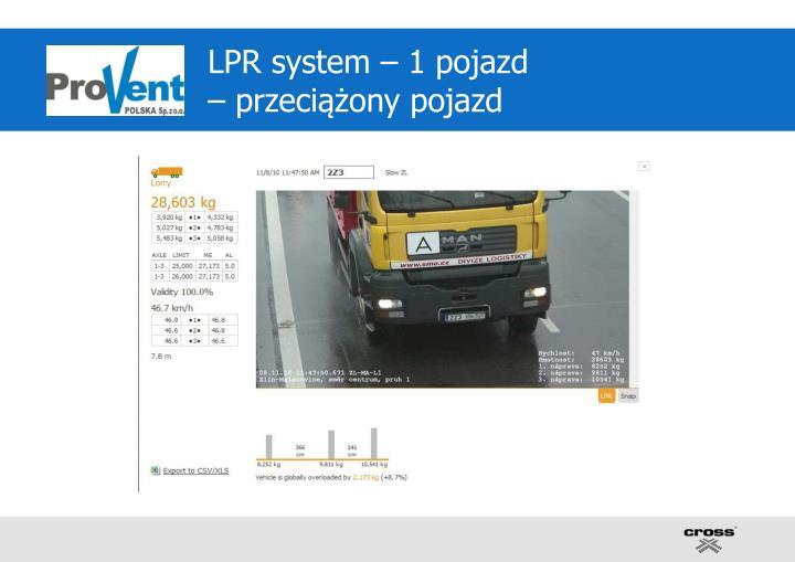 LPR system – 1 pojazd