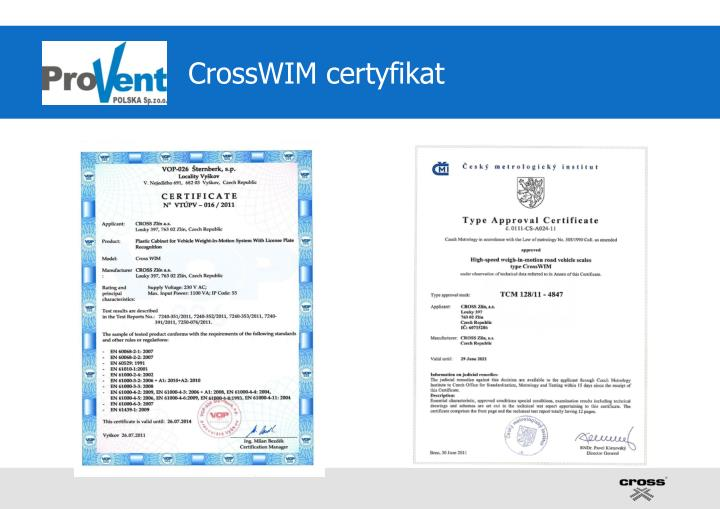 CrossWIM certyfikat