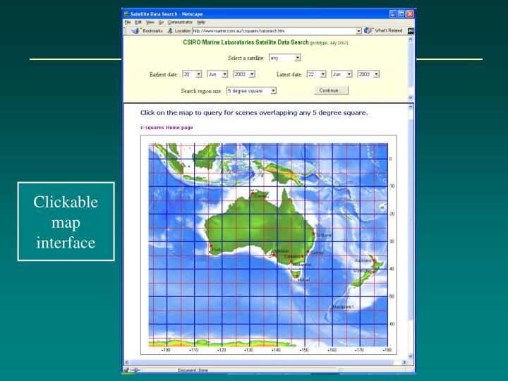 Clickable map interface
