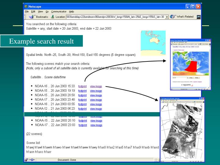Example search result
