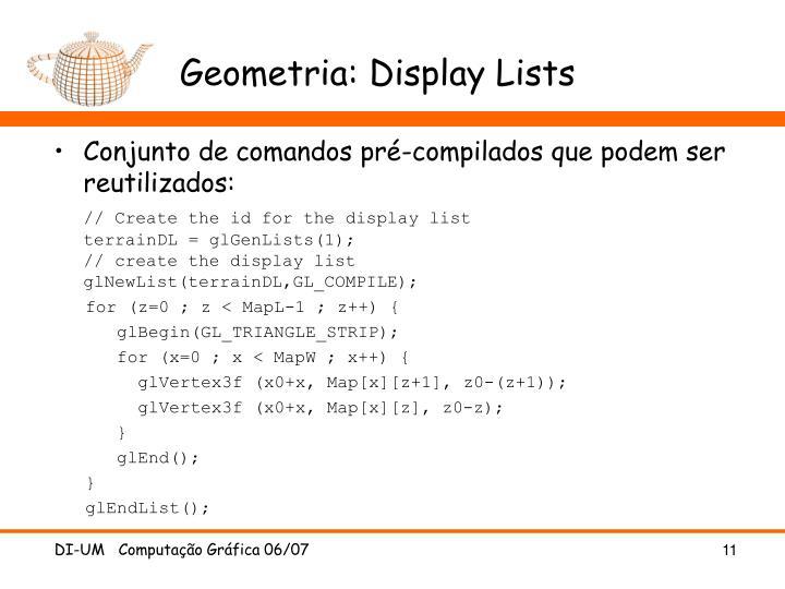 Geometria: Display Lists