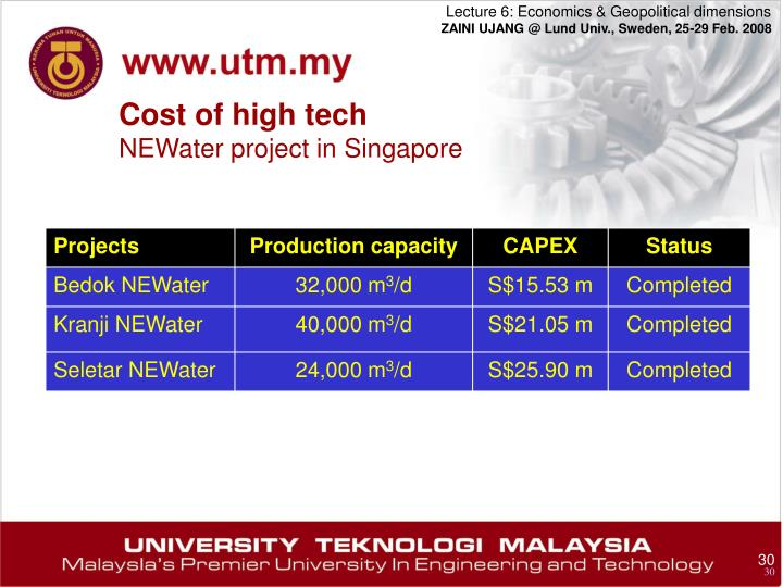 Cost of high tech